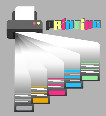 printer, printing, rendering of services 일러스트
