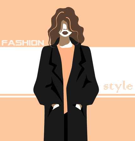 a girl in a coat Vectores