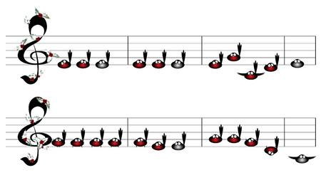 Birds. Christmas song notes design