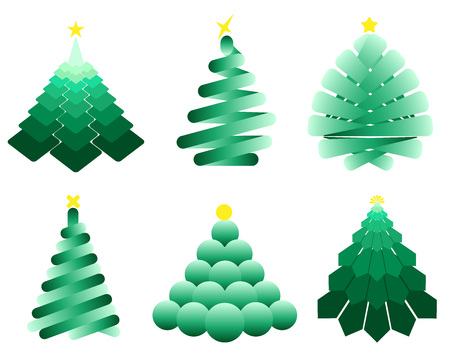 Set of geometric images of Christmas trees. Element for design