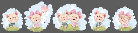 a set of funny, funny piglets for invitations, posters, caledarians