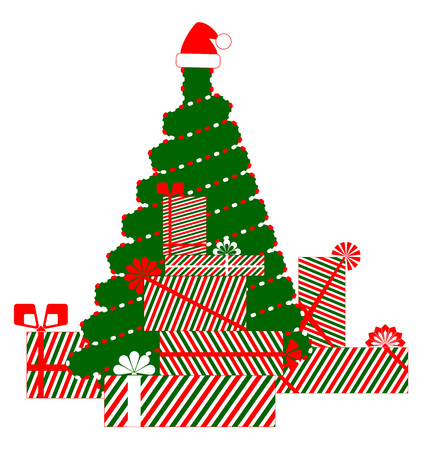 tree, christmas, gifts  イラスト・ベクター素材