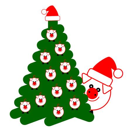 tree, christmas, pig  イラスト・ベクター素材