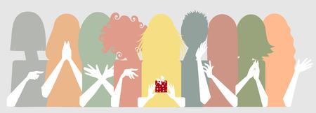 delight, envy, girlfriends, queue  イラスト・ベクター素材