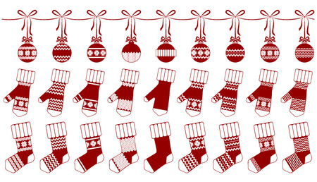 socks and mittens, christmas, garland, decoration,