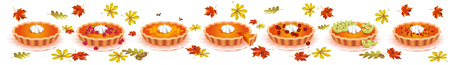 Sweet pies. For the design of food. Confectionery for holiday Çizim