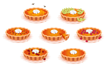 Sweet pies. For the design of food. Confectionery for holiday 矢量图像