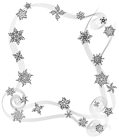musical frame from notes for design Çizim