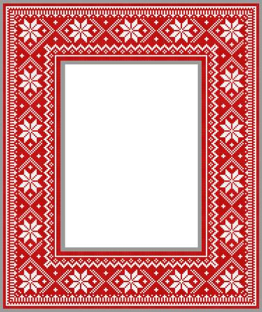 winter frame in the style of knitting for decoration