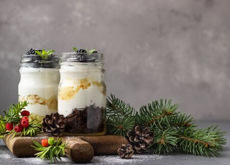 Layered dessert with ricotta or cream cheese, chocolate and vanilla cookies and blackberries in mason jars. New year tree branches, gray background. Christmas and New year food background.