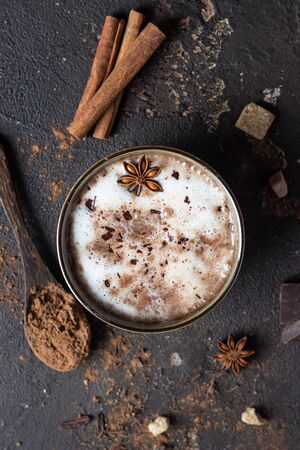 Cup of hot cocoa or hot chocolate with anise star and cinnamon sticks. Traditional beverage for autumn or winter time. Dark background. Top view.
