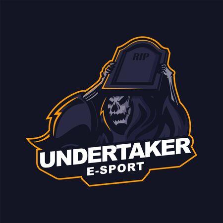 grim reaper holding gravestone logo for e-sport gaming mascot logo