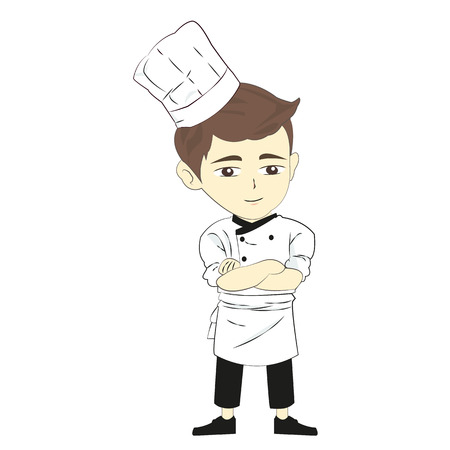 Cartoon chef vector illustration isolated on white background Çizim