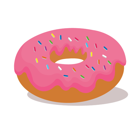Pink donut vector illustration isolated on white background