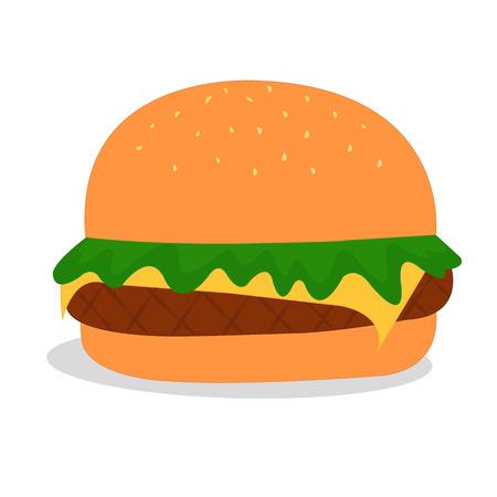vegetable fat: Hamburger Vector Illustration Isolated On White