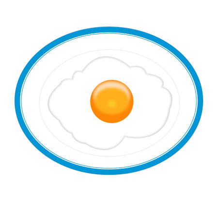 Fried egg on a plate vector illustration isolated on white background Illustration