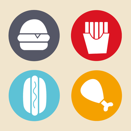 Vector set  icons and food - signs on circles Çizim