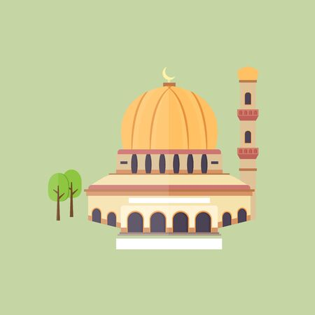 vector illustration of a mosque in the city 向量圖像