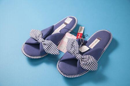 Purple pair of baby girls slippers Stock Photo