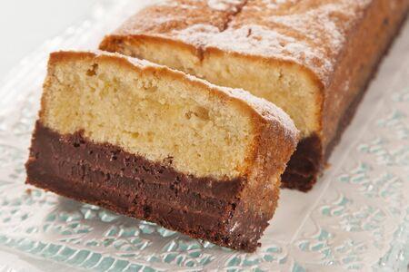 Vanilla cake and chocolate slices