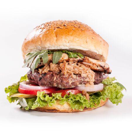 amerikanische saftige Käse-Burger-Zwiebel Standard-Bild