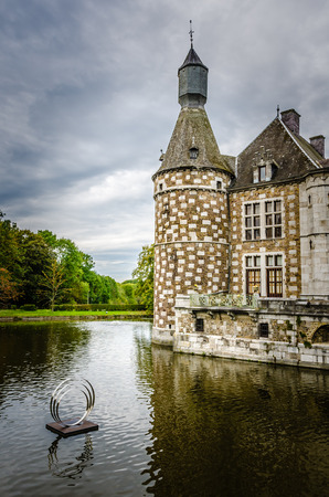 The ancient Castle of Jehay, very olden monastery history, in province of Liège, Waloon region (Wallonia), Belgium. Editorial