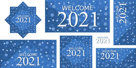 2021 bundle Set of Happy New Year 2021. Welcome New Year christmas. Cover of card, print, overlay or stamp, seal, greeting, invitation card for 2021. Vector illustration. Ilustração