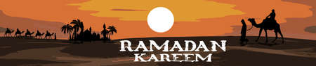 Ramadan Kareem. Camels and Date trees and Mosque in the desert. Vector illustration