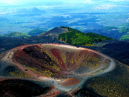 Breathtaking views of an extinct crater of Etna, italy Stock Photo