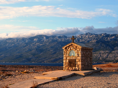 Shrine, mountain landscape with small altar in the island of Pag