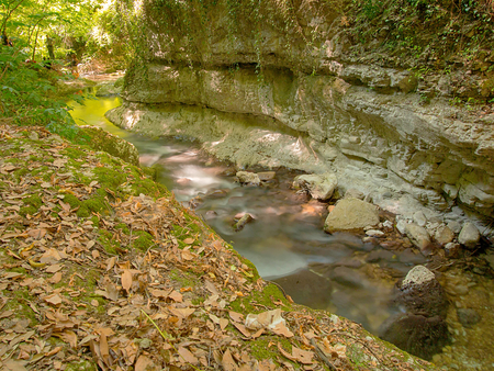 river nestled in the forest and protected by rocky walls excavated by the waterway and with autumnal leaves lying on the green grass in a beautiful park where wild nature reigns sovereign Stock Photo