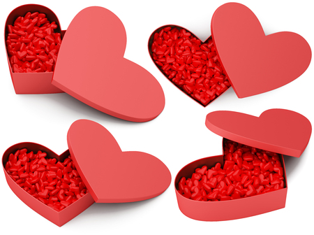 Opened red heart box with small hearts. 3D illustration isolated on a white background.