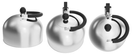 Stovetop whistling kettle. 3D illustration isolated on a white background.