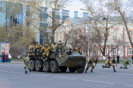 rehearsal: IRKUTSK RUSSIA 7 MAY 2015: Rehearsal of the Victory Day parade at Kirov39s square Irkutsk. 70 years of the victory in World War 2 against Nazi Germany