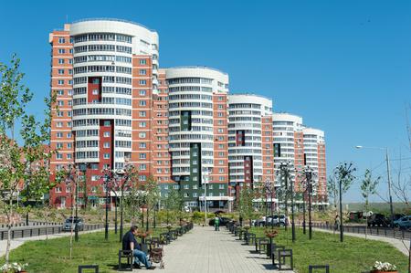 str: IRKUTSK, RUSSIA - JUNE 23: Housing complex New City - 8 Str . Far East on June 23, 2015 in Irkutsk.