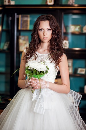 luxury hotel room: Beautiful yang bride in luxury hotel room.