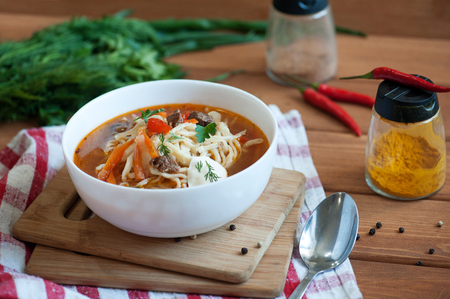 uzbek: Asian traditional soup lagman with noodle and meat.