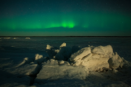 magnetosphere: Aurora Borealis at the seaside