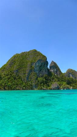 View of limestone island in the lagoon on Wayag archipelago in Raja Ampat, west Papua, Indonesia