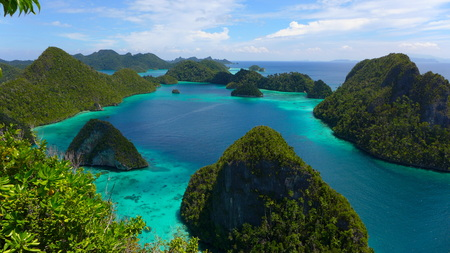 Aerial View of the lagoon on Wayag archipelago in Raja Ampat, west Papua, Indonesia Stock Photo