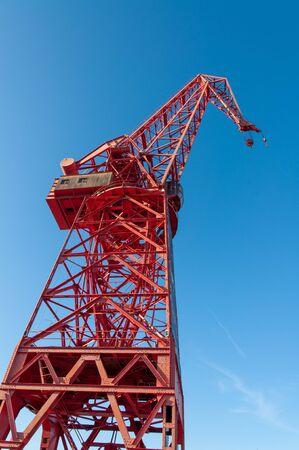 Red Tower crane at the Bilbao Maritime Museum, BBK, Spain Editorial
