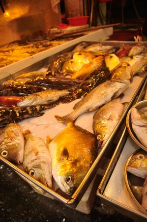 Causeway Bay / Hong Kong - Jun, 10 2013: Causeway Bay. The Fish Market. Street Food. Chinese Food