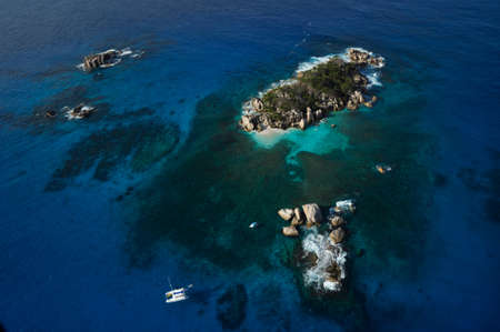 Aerial panorama of the Marine reserve of Coco island with the blue Indian Ocean, Seychelles Stock fotó