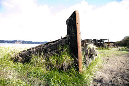 Old shipwreck on the Purton Ships' Graveyard - ship Envoy