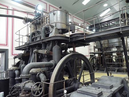 steam machine: Una m�quina de vapor antigua en la Planta de hidrodin�mica en el antiguo puerto de Trieste, construido en el siglo XVIII durante la dominaci�n austro-h�ngaro