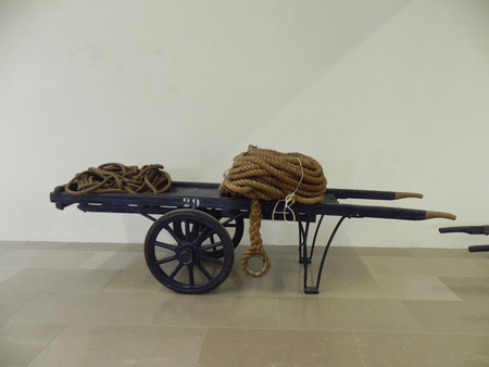 century plant: An ancient wook handcart of the eighteenth century exposed  at the hydrodynamic plant museum of the old port of Trieste