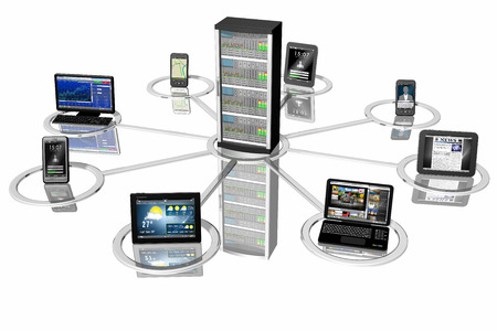 pcs: symbolic representation of computer systems, PCs, computers, tablets, smartphones, connected to each other and to a central server