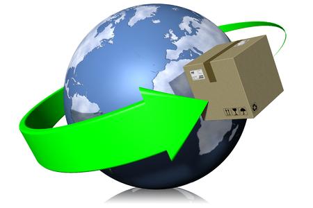 mondo: Pacchi spediti attorno al mondo in modo rapido e veloce. Stock Photo