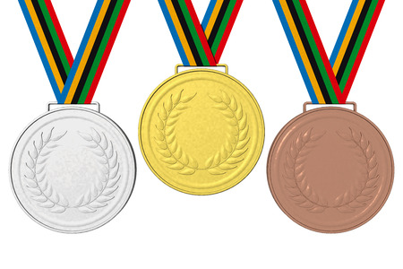 62335133 medals podium gold silver and bronze with ribbon colors blue yellow black green red