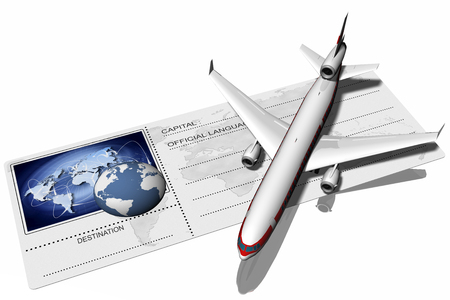depicted: Airplane resting on airfare depicted with the world and its possible connections.